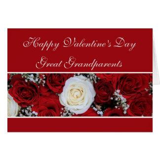 素晴らしい-祖父母のバレンタインの赤と白バラ カード