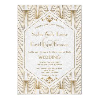 素晴らしいGatsbyのアールデコの金ゴールドの白い結婚式の招待 カード