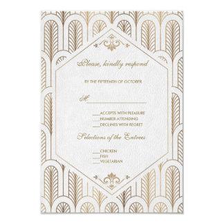 素晴らしいGatsbyのアールデコの金ゴールド白い結婚RSVP カード