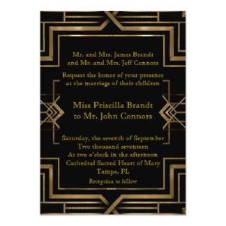 素晴らしいGatsby結婚式招待状の黒及び金ゴールド 12.7 X 17.8 インビテーションカード