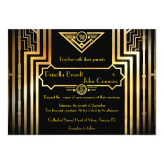 素晴らしいGatsby結婚式招待状式 12.7 X 17.8 インビテーションカード