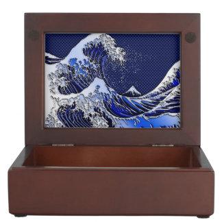 素晴らしいHokusaiの波のクロムカーボン繊維の装飾 ジュエリーボックス