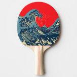 素晴らしいHokusaiの波の破裂音の装飾 卓球ラケット