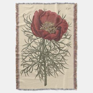 素晴らしいLeavedシャクヤクの植物の絵 ブランケット