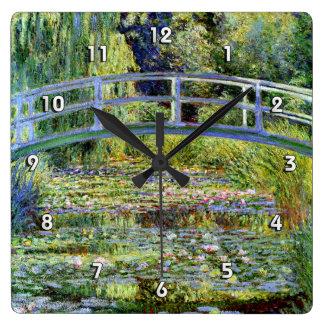 素晴らしいMonet日本のな橋及び水ユリの池 スクエア壁時計