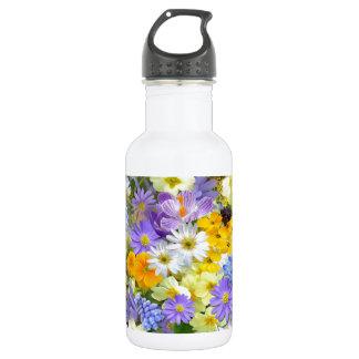 素晴らしくカラフルな庭の花のデザイン ウォーターボトル