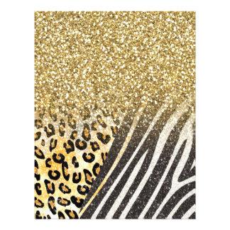 素晴らしくガーリーで粋な金ゴールドのヒョウおよびシマウマは印刷します チラシ
