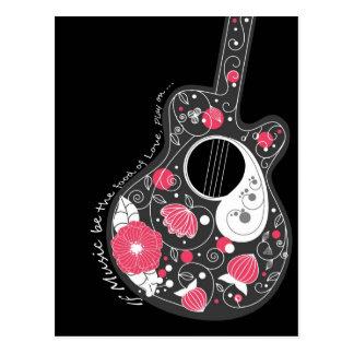 素晴らしくクールでかわいく粋でガーリーな花のギター ポストカード