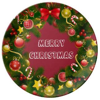 素晴らしく及び伝統的なメリークリスマスのリース 磁器プレート