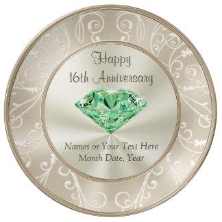 素晴らしく名前入りな第16記念日のギフト 磁器プレート