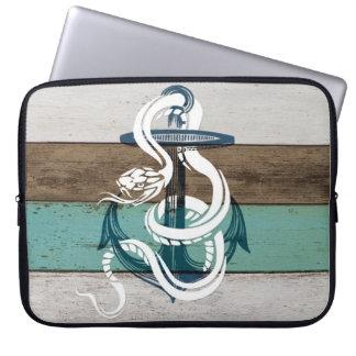 素晴らしく涼しいヴィンテージの青いいかりの白のヘビ ラップトップパソコンスリーブ