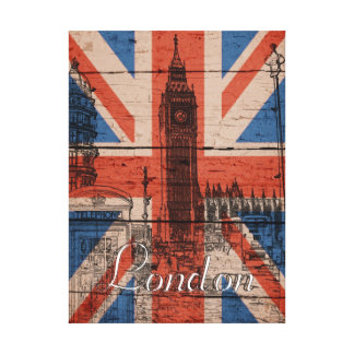 素晴らしく涼しく粋で古い木製のグランジなイギリスの旗 キャンバスプリント