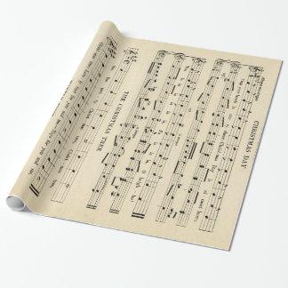 素晴らしく珍しいヴィンテージのクリスマス音楽シート ラッピングペーパー