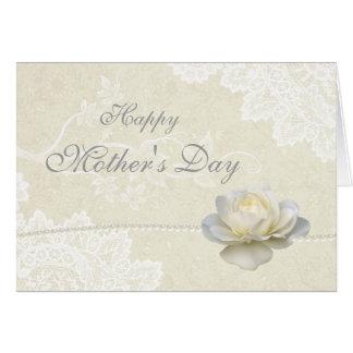 素晴らしく白いレースの真珠及びばら色の母の日 カード