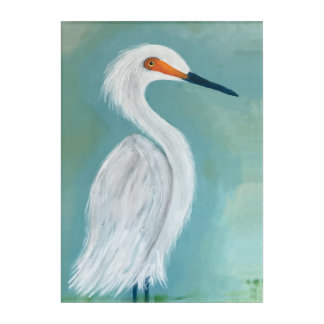 素晴らしく白い白鷺のファインアートの絵画 アクリルウォールアート
