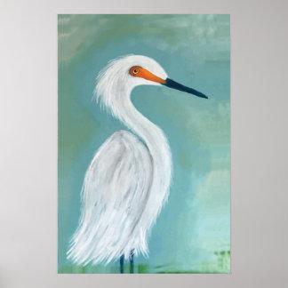 素晴らしく白い白鷺のファインアートの絵画 ポスター