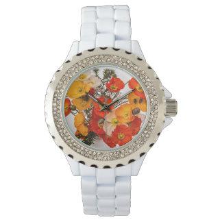 素晴らしく鮮やかな黄橙色のケシ 腕時計