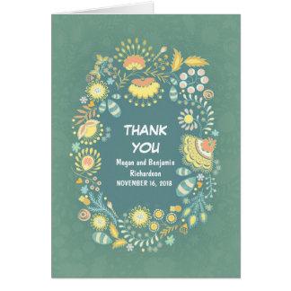 素朴でお洒落な花のリースのサンキューカード カード