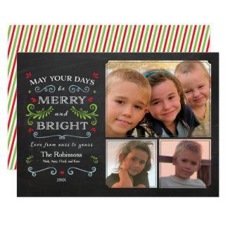 素朴でお洒落な黒板の休日の3写真カード カード