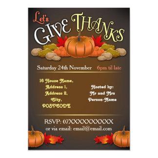 素朴でカスタマイズ可能な感謝祭の招待状 12.7 X 17.8 インビテーションカード