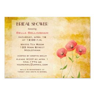 素朴でグランジなケシのブライダルシャワーの招待状 カード