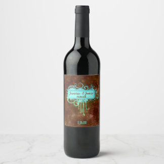 素朴でグランジな結婚式のグリッターフレームのラベルのワインのラベル ワインラベル