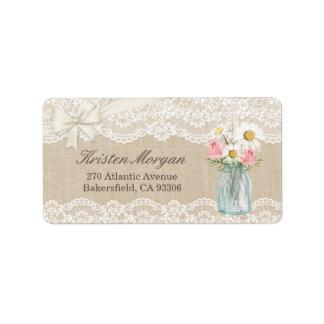 素朴でシックなアイボリーのバーラップのレースの花のメーソンジャー ラベル