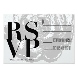 素朴でシックな木製の平板|灰色の結婚RSVP カード