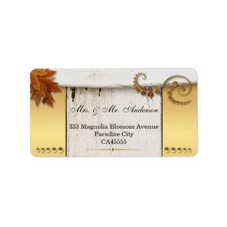素朴でシックな秋の結婚式の宛名ラベル ラベル