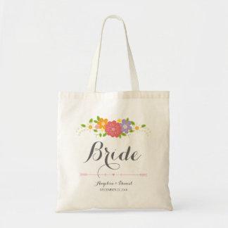 素朴でロマンチックな書道及びパステルの花の花嫁 トートバッグ