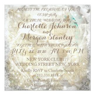 素朴で名前入りな結婚式招待状 カード