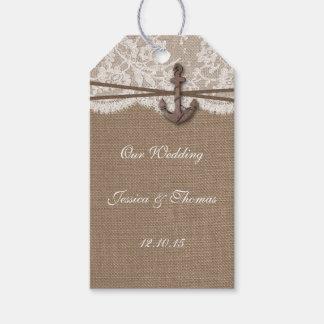 素朴で航海のないかりの結婚式のコレクション ギフトタグ