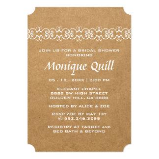 素朴で装飾的なのどの紙のブライダルシャワー カード