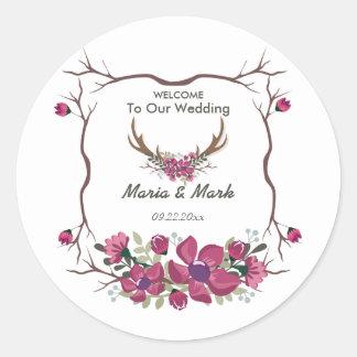 素朴で装飾的な花の結婚式の円形のステッカー ラウンドシール