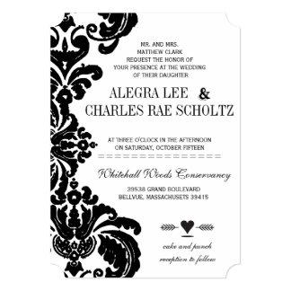 素朴で豪華なヴィンテージの黒のダマスク織の結婚式の招待 カード