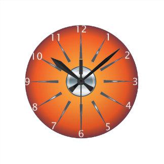 素朴で赤いオレンジ柱時計 ラウンド壁時計
