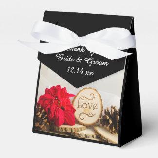 素朴で赤いポインセチアの冬の結婚式 フェイバーボックス