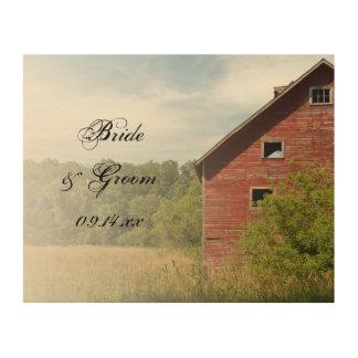 素朴で赤い納屋の国の結婚式の記念品 ウッドウォールアート