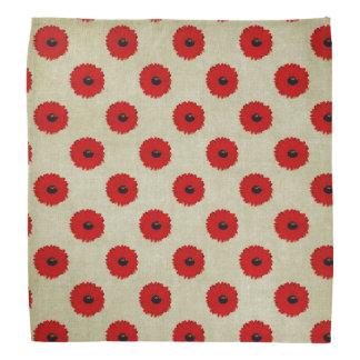 素朴で赤い花模様 バンダナ