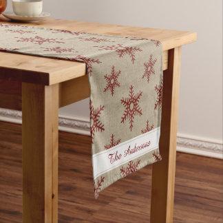 素朴で赤く模造のなバーラップの雪片パターン ショートテーブルランナー