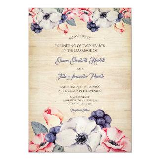 素朴で軽い木製の夏のブルーベリーの花の結婚式 カード