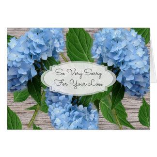 素朴で青いアジサイの悔やみや弔慰メッセージ カード