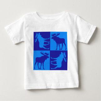 素朴で青いアメリカヘラジカの正方形のデザイン ベビーTシャツ