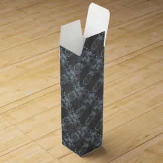 素朴で青いメーソンジャーの黒板の結婚式 ワインギフトボックス