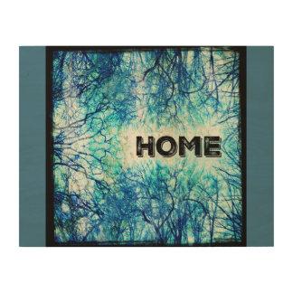 素朴で青い家の印 ウッドウォールアート