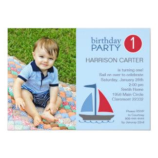 素朴で青い帆ボートの誕生日の招待状 12.7 X 17.8 インビテーションカード
