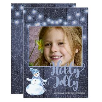 素朴で青い納屋木およびきらめきライト写真 カード