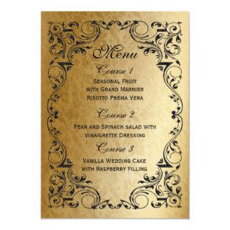 素朴で黒い金ゴールドの豪奢な結婚式メニュー 12.7 X 17.8 インビテーションカード