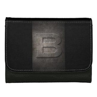 素朴で黒い金属Bのモノグラムの模造のな革財布