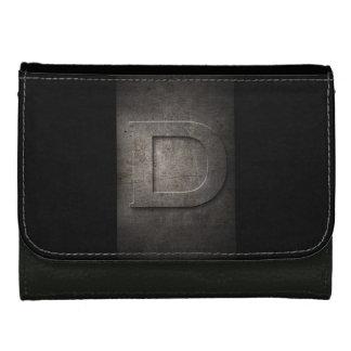 素朴で黒い金属Dのモノグラムの模造のな革財布